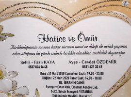 Hatice&Ömürün Düğününe davetlisiniz.